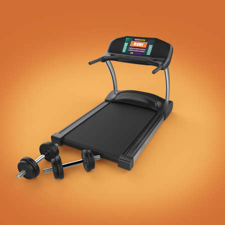 exercise equipment: Treadmill and fitness exercise equipment dumbbell weights on . 3d render isolated
