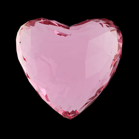 crystal heart: Beautiful low poly white crystal heart isolated on black background. Valentines day concept 3d render
