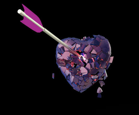 heartbreaking: broken glossy metallic heart with arrow on isolated on black background. Valentines day poster  template 3d render