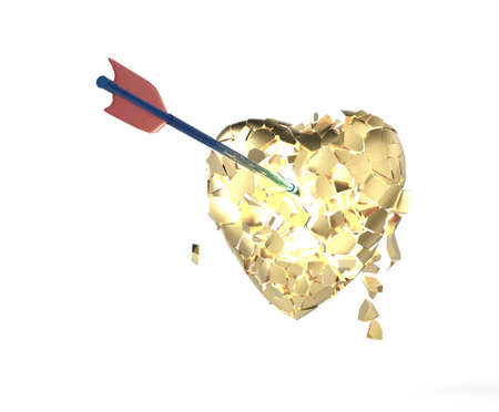 broken glossy metallic heart with arrow on isolated on black background. Valentines day poster  template 3d render
