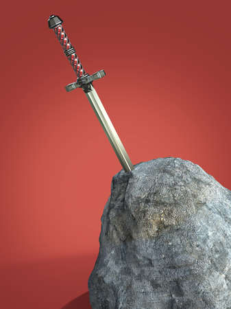 sword excalibur  King Arthur stuck in the rock stone isolated 3d render. metaphor of candidate applicant test Zdjęcie Seryjne