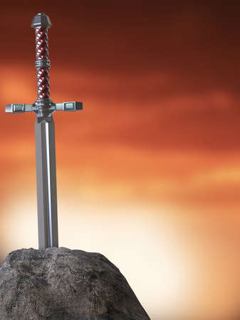 rightful: sword excalibur  King Arthur stuck in the rock stone isolated 3d render. metaphor of candidate applicant test Stock Photo