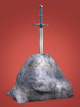 espada Excalibur del rey Arturo ha quedado atascado en la roca de piedra aislado 3d. metáfora de la prueba solicitante candidato