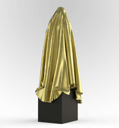 unveiling: statue on cube podium draped with glossy satin cloth. Before the opening of piece of art concept, 3d rendering