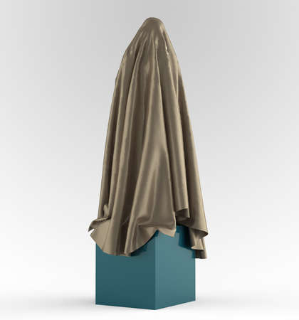 draped: statue on cube podium draped with glossy satin cloth. Before the opening of piece of art concept, 3d rendering