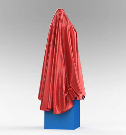 cover art: statue on cube podium draped with glossy satin cloth. Before the opening of piece of art concept, 3d rendering