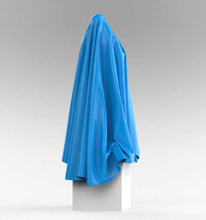 draped cloth: statue on cube podium draped with glossy satin cloth. Before the opening of piece of art concept, 3d rendering