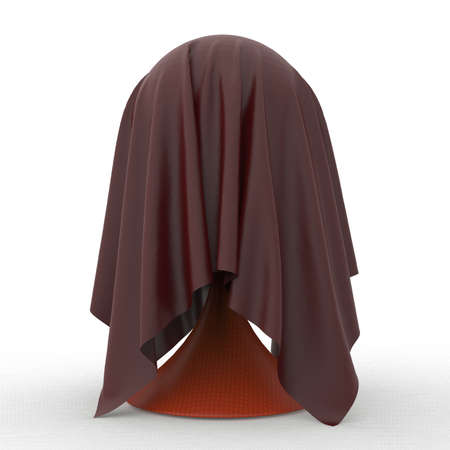 discreet: ball on conical stand covered with light grey matte fabric textile 3d rendering