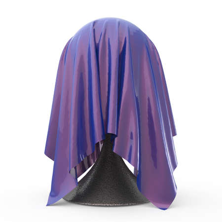 unveil: ball on conical stand covered with light grey matte fabric textile 3d rendering