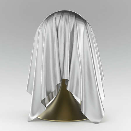unveiling: ball on conical stand covered with light grey matte fabric textile 3d rendering
