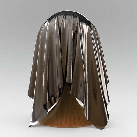 discreto: pelota c�nica reposar cubierto con representaci�n 3D de color gris claro textil de la tela mate