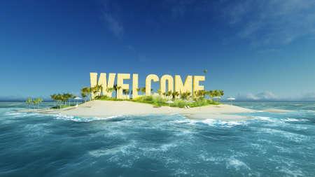 3d render mot de bienvenue fait de sable sur l'île de paradis tropical avec des palmiers un soleil de tentes. Summer Tour de vacances concept.