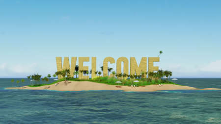 island paradise: 3d render word welcome made of sand on tropical paradise island with palm trees an sun tents. Summer vacation tour concept.
