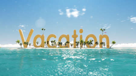 cross section of tree: 3d render word vacation on tropical paradise island with palm trees an sun tents. with sail boat in the ocean.