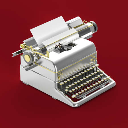 storytelling: golden vintage typewriter with sheet of paper isometric 3d rendering isolated on red background. Poetry, literature, copywriting, storytelling metaphor. Stock Photo