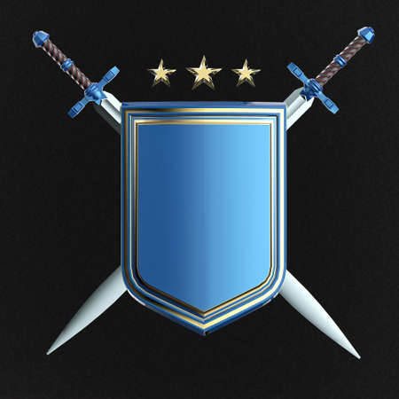 crossed swords: blank shiny metallic shield and two crossed swords isolated . 3d rendered image
