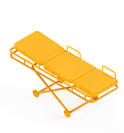 hospital stretcher: Glossy metal hospital stretcher on wheels isolated on white background isometric 3d rendering