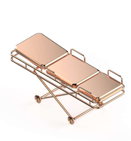 surgery stretcher: Glossy metal hospital stretcher on wheels isolated on white background isometric 3d rendering