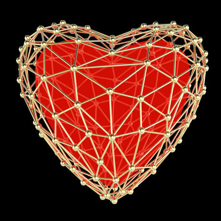 crystal heart: crystal low poly shiny 3d heart in atom array heart shaped cage. Wedding and valentines day concept Stock Photo