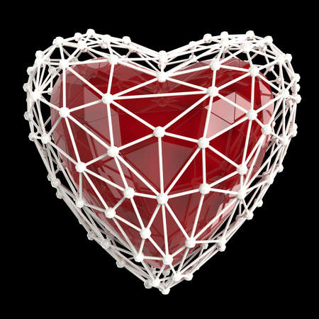 jealousy: crystal low poly shiny 3d heart in atom array heart shaped cage. Wedding and valentines day concept Stock Photo