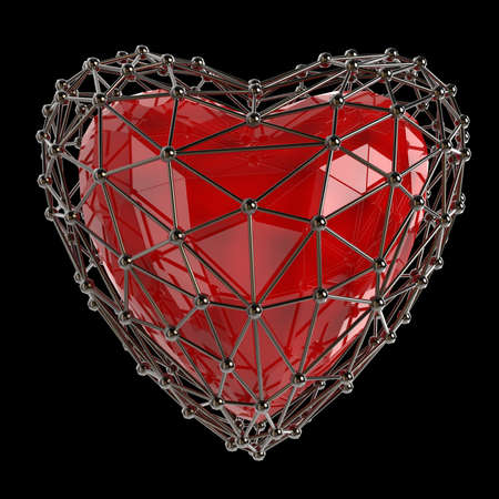 jewell: crystal low poly shiny 3d heart in atom array heart shaped cage. Wedding and valentines day concept Stock Photo