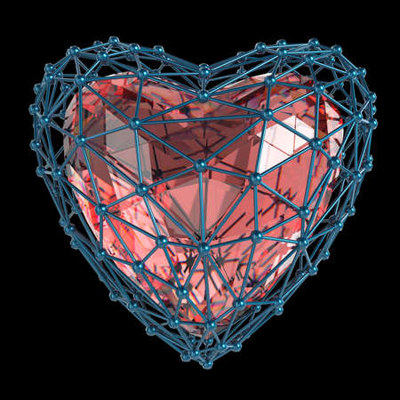 array: crystal low poly shiny 3d heart in atom array heart shaped cage. Wedding and valentines day concept Stock Photo