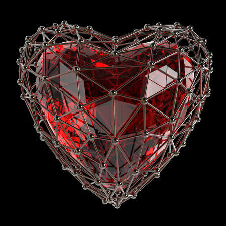 crystal low poly shiny 3d heart in atom array heart shaped cage. Wedding and valentines day concept Standard-Bild