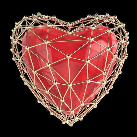 3d heart: crystal low poly shiny 3d heart in atom array heart shaped cage. Wedding and valentines day concept Stock Photo