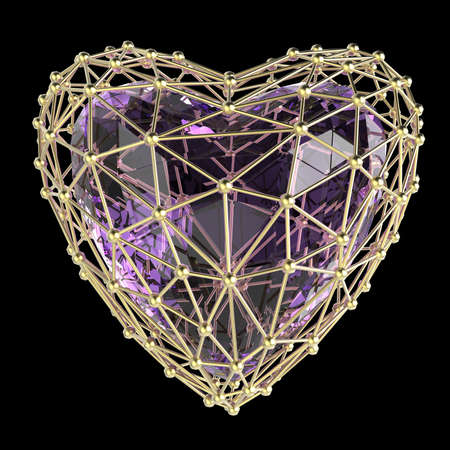 heart symbol: crystal low poly shiny 3d heart in atom array heart shaped cage. Wedding and valentines day concept Stock Photo