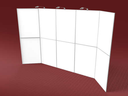presentation display: Portable folding presentation display 3d render isolated blank mock up