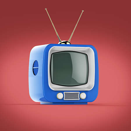 tv screen: Classic Design Retro TV with bright color plastic shell and blank screen isolated with soft shadow 3d render Stock Photo