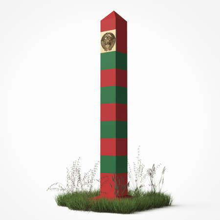 soviet border monument, frontier post sign with patch of grass isolated 3d render the border guards day 28 may concept