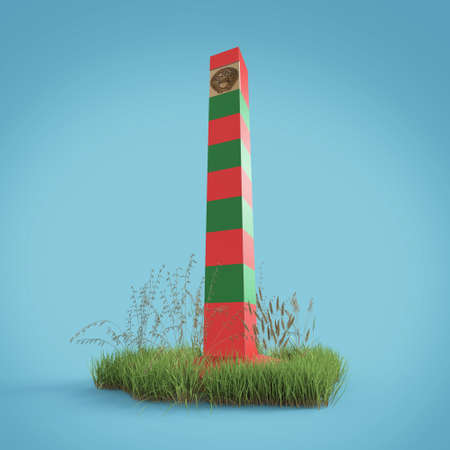 frontier: soviet border monument, frontier post sign with patch of grass isolated 3d render the border guards day 28 may concept Stock Photo