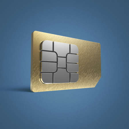 SIM card concept: golden card microchip isolated on color background 3d render reflection effect shadow Stock Photo