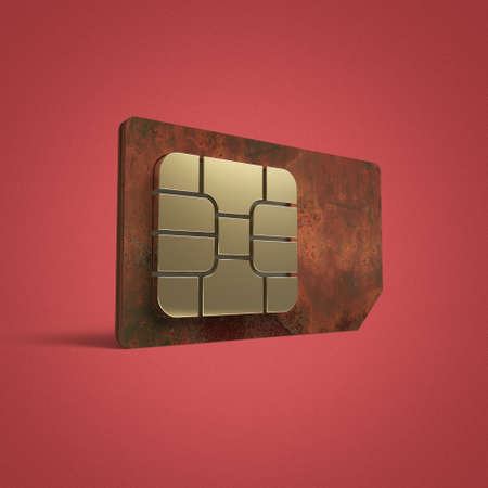 color reflection: SIM card concept: golden card microchip isolated on color background 3d render reflection effect shadow Stock Photo