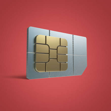 SIM card concept: golden card microchip isolated on color background 3d render reflection effect shadow riveted steel Stock Photo