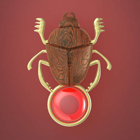 ancient Egyptian Scarab precious glossy with gem orb isolated 3d render