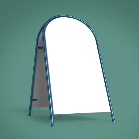 strut: white advertising banner pillar stand mockup template isolated 3d rendering Stock Photo