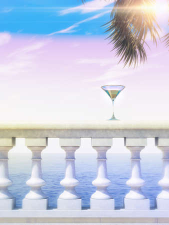 balustrade: summer sea view stone classic balustrade with cocktail glass and palm leaves 3d render background image