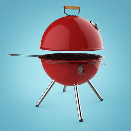roasting: kettle barbecue charcoal grill with folding metal lid for roasting, BBQ 3d render isolated Stock Photo
