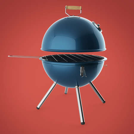 charcoal grill: kettle barbecue charcoal grill with folding metal lid for roasting, BBQ 3d render isolated Stock Photo
