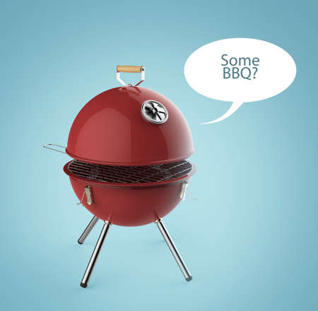 charcoal grill: kettle barbecue charcoal grill with folding metal lid for roasting, BBQ 3d render isolated talk bubble smile