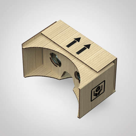 Virtual reality goggles eye-wear cardboard head equipment VR helmet, augmented reality device with mobile phone inside 3d render isolated