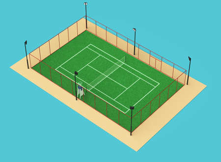 courts: green tennis court high quality detalied grass 3d render sports field isolated