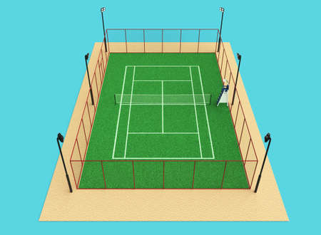 grass isolated: green tennis court high quality detalied grass 3d render sports field isolated