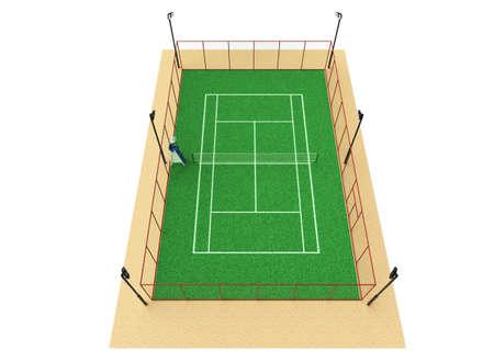 wimbledon: green tennis court high quality detalied grass 3d render sports field isolated