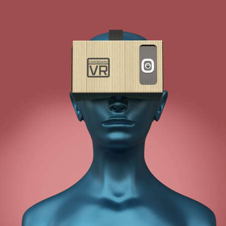 mannequin head: Virtual reality cardboard headset on color female plastic mannequin head, high quality isolated 3d render Stock Photo
