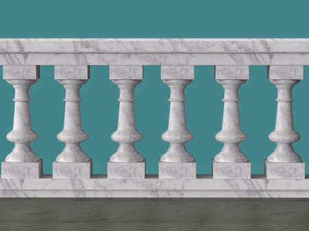 balustrade: vintage balustrade decorative railing made of wood stone and metal isolated high quality 3d render