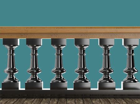Vintage balustrade decoratief railing gemaakt van hout steen en metaal geïsoleerd hoge kwaliteit 3d render Stockfoto - 61370912
