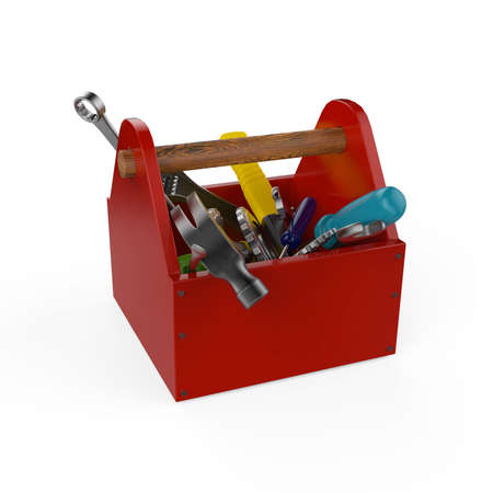 handsaw: Red toolbox with tools. Sckrewdriver, hammer, handsaw and wrench. Under construction, maintenance, fix, repair, premium service High quality 3d render isolated